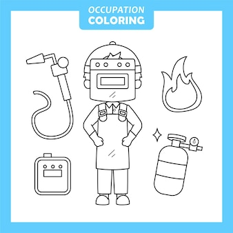 Welder job occupation coloring page