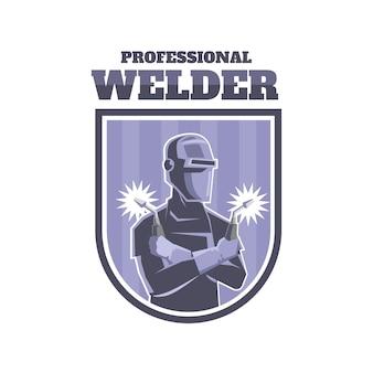 詳細と溶接機のロゴのテンプレート