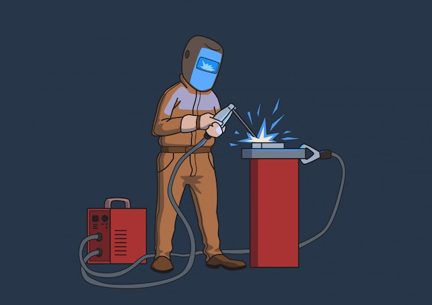 Welder in a protective mask at work. cartoon  illustration,  on dark background.