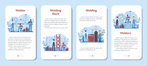 Welder and welding service concept mobile application banner set. professional welder in protective mask and gloves. man in uniform welding metal pipe and construction. vector illustration