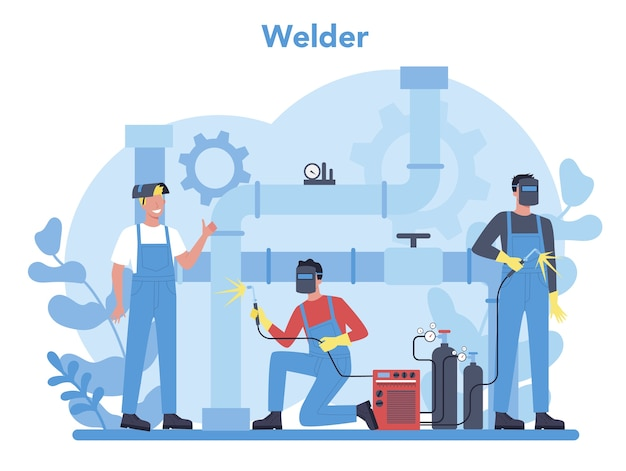 Welder and welding service concept. professional welder in protective mask and gloves. man in uniform welding metal pipe and construction made of steel. industrial profession. vector illustration