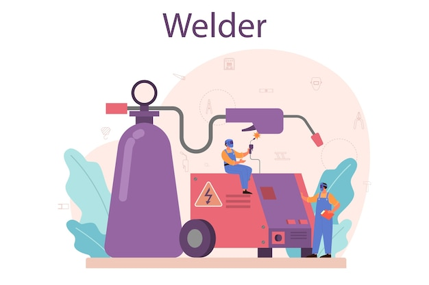 Welder and welding service concept. professional welder in protective mask and gloves.