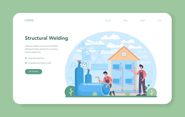 Welder and welding service concept web banner or landing page. professional welder in protective mask and gloves. man in uniform welding metal pipe and construction. vector illustration