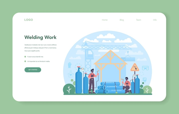 Welder and welding service concept web banner or landing page. vector illustration