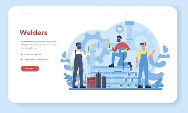Welder and welding service concept web banner or landing page