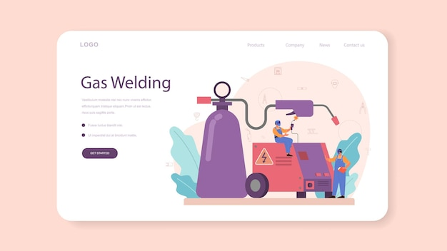 Welder and welding service concept web template or landing page. professional welder in protective mask and gloves. man in uniform welding metal pipe and construction. vector illustration