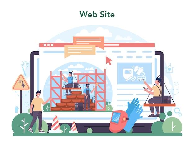 Welder and welding service online service or platform. website. flat vector illustration