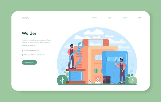 Welder and welding service web banner or landing page. professional welder in protective mask and gloves. man in uniform welding metal pipe and construction made of steel. flat vector illustration
