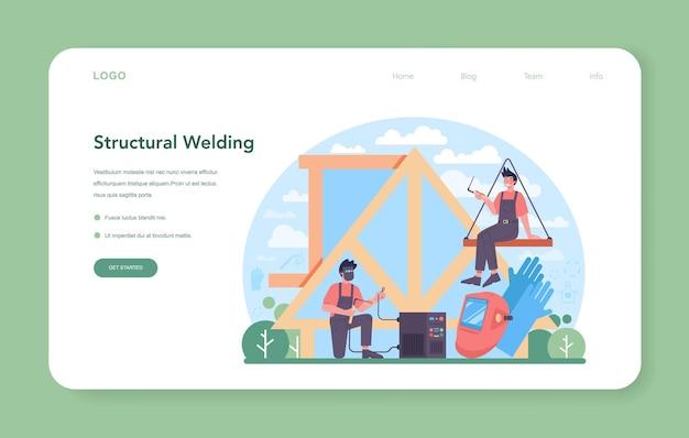 Welder and welding service web banner or landing page. professional welder