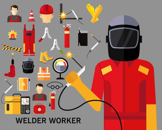Welder worker concept background. flat icons.