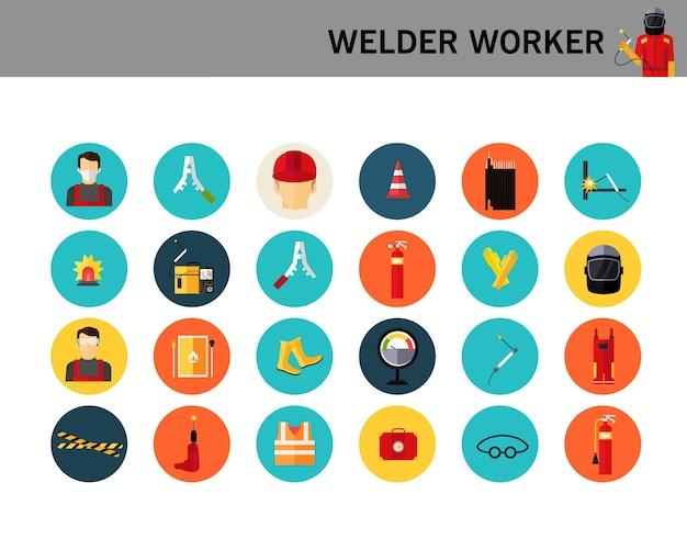 Welder worker concept flat icons.