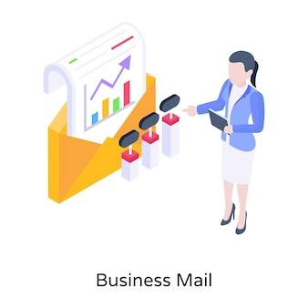 A well designed isometric concept icon of business mail