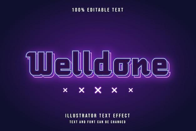 Welldone, редактируемый текстовый эффект с синей градацией, розовый неон в современном стиле
