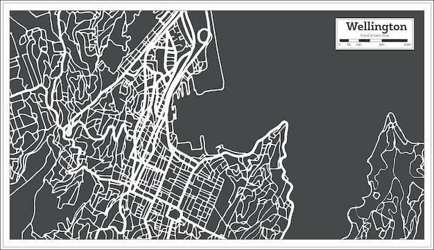 복고 스타일의 웰링턴 뉴질랜드 도시 지도. 개요 지도. 벡터 일러스트 레이 션.