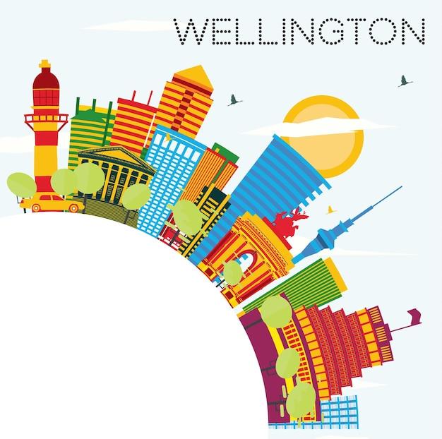 Горизонт веллингтона с цветными зданиями, голубым небом и копией пространства. векторные иллюстрации. деловые поездки и концепция туризма с современной архитектурой. изображение для презентационного баннера и веб-сайта.