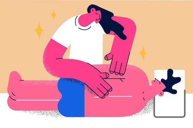 웰빙, 미용 및 스파 개념입니다. 테이블 벡터 일러스트 레이 션에 누워 편안한 남자 클라이언트에 대 한 다시 마사지를 만드는 젊은 웃는 여자 안마사