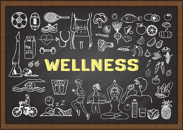 Wellness elements on chalkboard