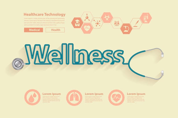 Wellness health ideas concept design, with stethoscope in the shape