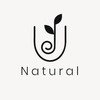 ウェルネスの葉のロゴのテンプレート、モダンな自然のデザインのベクトル
