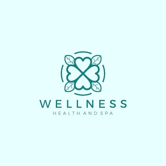 Wellness logo with a simple and clean modern design with elegant line art style for yoga massage or spa