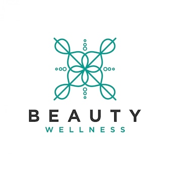 Wellness logo with a simple and clean modern with elegant line art style for yoga massage or spa and beauty business.