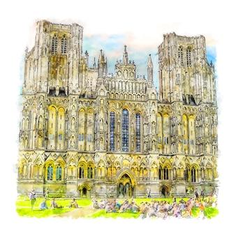 웰스 대성당 영국 수채화 스케치 손으로 그린 그림