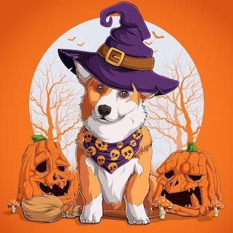 Вельш-корги в костюме хэллоуина сидит на метле и в шляпе ведьмы с тыквами на боку