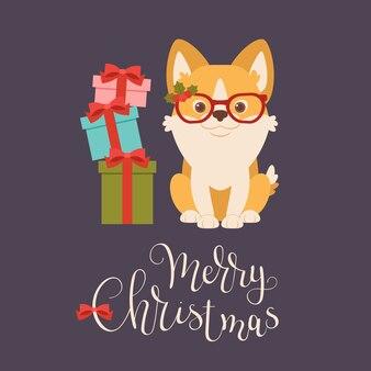 ギフトボックス付きの装飾されたクリスマス・メガネのウェールズ・コルジ子犬