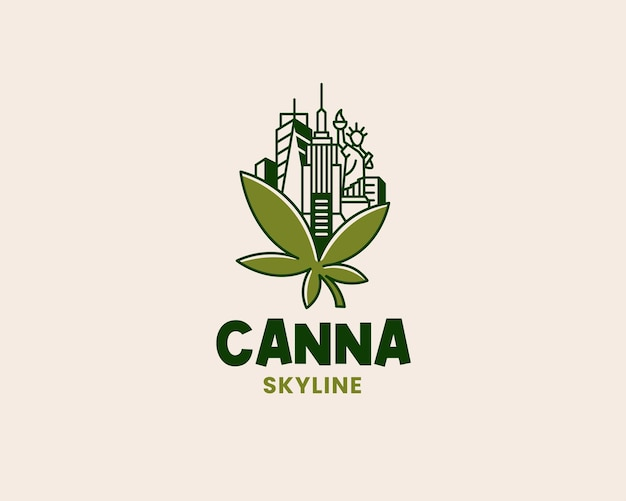 Weminimal cannabis city logo template