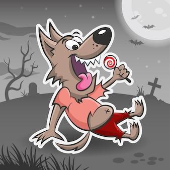 늑대 인간 만화 캐릭터 할로윈 스티커 할로윈 괴물 벡터 일러스트 스티커