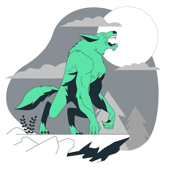 Illustrazione del concetto di lupo mannaro