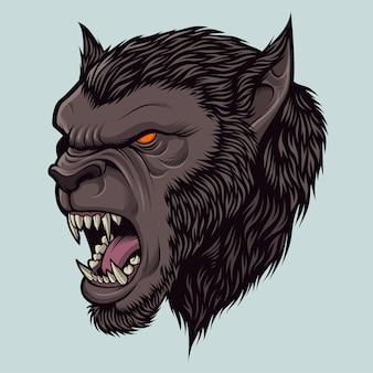 할로윈 테마 디자인 요소에 대한 늑대 인간 머리 그림