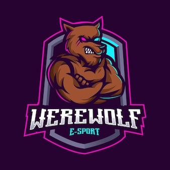배지, 엠블럼 및 티셔츠 인쇄를위한 현대적인 일러스트 컨셉 스타일로 늑대 인간 마스코트 로고 디자인. 스포츠 팀에 대한 성난 늑대 그림