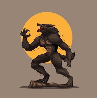 늑대 인간 또는 라이칸 유럽 민속 밤에 늑대로 변하는 남자 캐릭터 그림 벡터