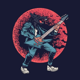 Werewolf playing music with electric guitar illustration