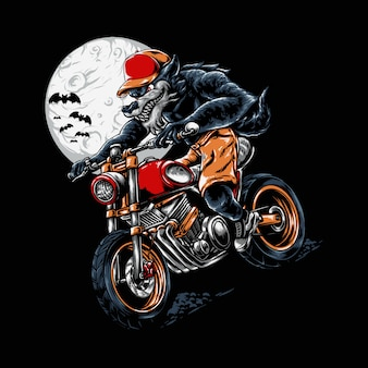 Werewolf riding halloween illustration