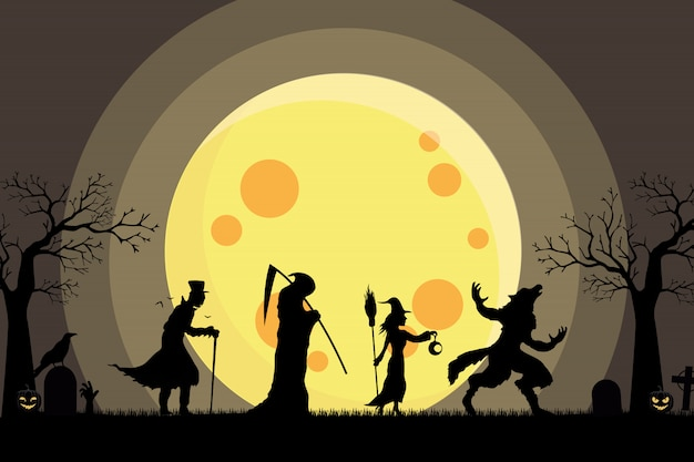 Werewolf, witch, angel of death, dracula walking silhouette go trick or treat
