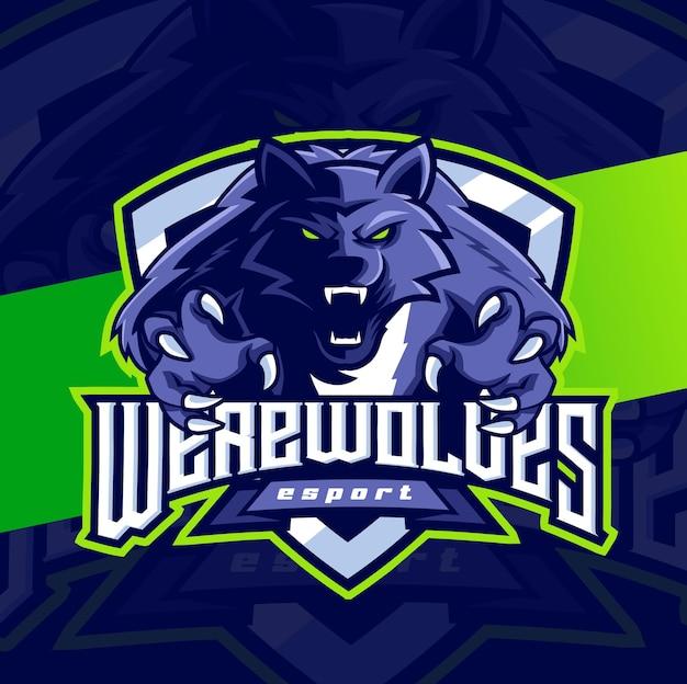 늑대 게임 및 스포츠를 위한 늑대 인간 마스코트 esport 로고 캐릭터 디자인