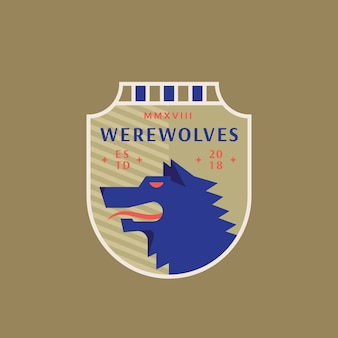Werewolves medieval sports team emblem.