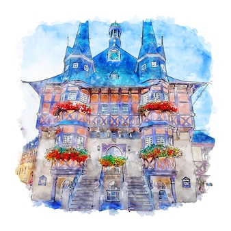 Wernigerode 독일 수채화 스케치 손으로 그린 그림