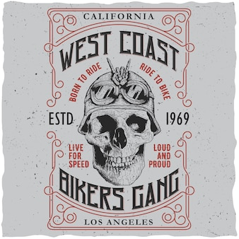 West coast bikers gang poster with t-shirt design and skull in motorcycle helmet illustration