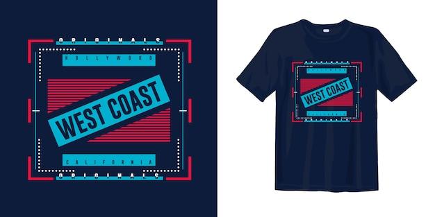 West coast, california. graphihc tee shirt apparel for print
