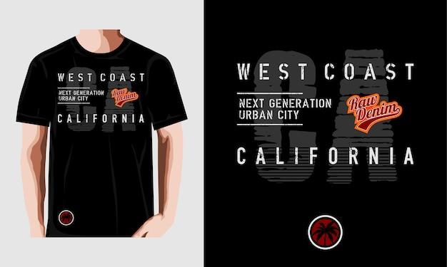 Типографская иллюстрация западного побережья калифорнии для футболки с принтом premium векторы