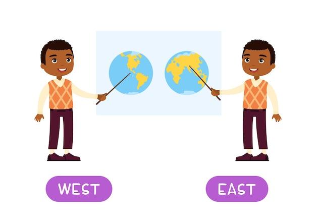Modello vettoriale di carta di parole contrari west e east flashcard per l'apprendimento della lingua inglese t africano