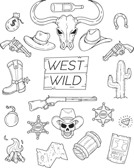 West wild doodle set for graphic design
