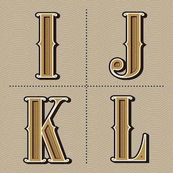 Western alphabet letters vintage design vector