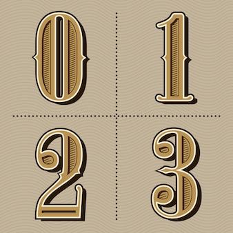Western alphabet letters vintage numbers design vector
