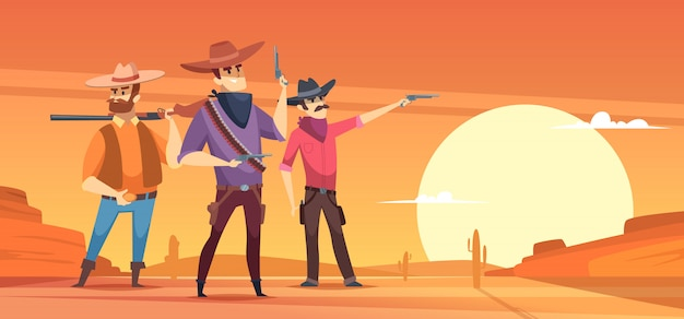 Western background. dessert silhouettes and cowboys on horses wildlife illustrations