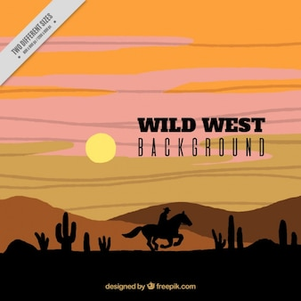 Western background with cowboy silhouette