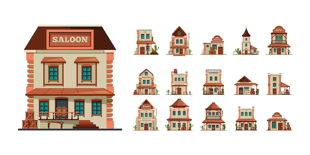 Западные постройки. западная дикая природа строительный салон, деревенский рынок, банки, американские старые дома, плоские фотографии. иллюстрация западного салона и архитектуры западноамериканского